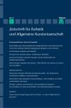 Zeitschrift für Ästhetik und Allgemeine Kunstwissenschaft Band 63. Heft 1