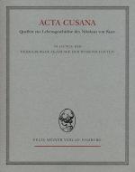 Acta Cusana, Band II, Lieferung 1